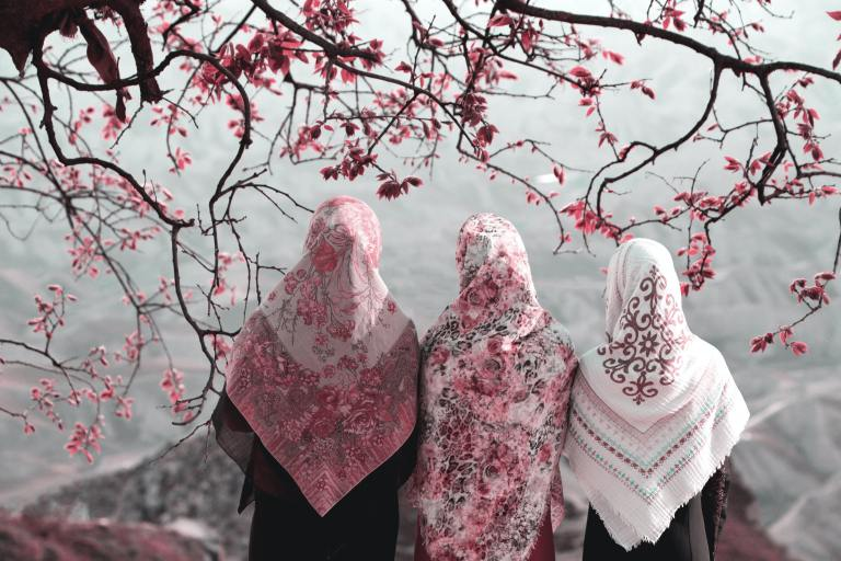 three muslim women wearing pink and while headscarves with their backs to the camera standing under a tree with pink flowers
